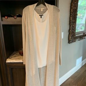 Eileen Fisher silk asymmetrical top/mesh duster.